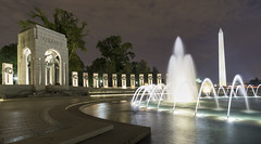 National World War II Memorial (johngoucher) Tags: approved night architecture washington washingtondc outdoors nightscape cityscape city worldwariimemorial worldwarii memorial monument washingtonmonument nationalmall fountain fountains longexposure wideangle wideanglelens sonyimages sonyalpha sonya6000 travel samyang 12mm rokinon