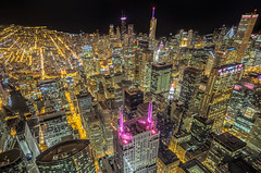 Willis Skydeck (roevin | Urban Capture) Tags: chicago unitedstatesofamerica usa illionois willis tower sears viewing deck night nightly view streets building buildings citscape city theloop downtown cityscape nightshot cars traffic statestreet nocturnal dark lighted topview pattern floor terrace rooftop bitexco evening skyline business district offices skyscrapers reflection longexposure light lights illuminated trip beams