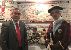 With the Prestonpans Battle Tapestry at Holyrood
