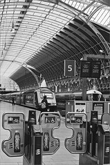 (frscspd) Tags: 04590009 20170209 pentax pentaxmx mx takumar takumar58mm 58mm ilford ilfordxp2 ilfordxp2400bw xp2 film filmgrain london paddingtonstation paddington station railwaystation railway barrier barriers architecture modernism ticketbarriers ticketbarrier 5 platform platform5