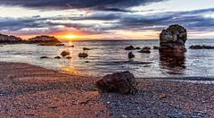 Sunset at Dunure beach Ayrshire. (Catherine Cochrane) Tags: sunset dunure scotland ayrshire water sky clouds sea seascape landscape
