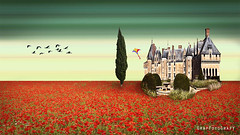 Castle in a field of poppies (Brigitte Graf GrafFotoGrafY) Tags: mohnfeld schloss mohn art surreal fantasy phantasy fantasie photo manipulation photoshop compositing composing sky montage fotomontage kunst digital