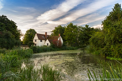 Early morning at Willy Lott's Cottage (sarahOphoto) Tags: 6d canon clouds constable cottage countryside early england flatford hauy hay iphoto john kingdom landscape lotts mill morning national painting pond suffolk summer trust uk united wain willy