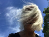 My Head in the Clouds (soniaadammurray - Off) Tags: iphone head clouds cliche hcs sky exterior tree windy selfportrait humorous 2017
