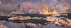 Reinefjorden, Lofoten Island Norway (Celia W Zhen) Tags: red reine norway lofoten lofotenislands sea mountain landscape sky cloud sunset snow winter celiawzhen celiawzhenphotograph travel pano panorama reinefjorden