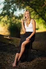 lake in the summer II (Michael Kremsler) Tags: model shooting girl blond dress skirt shirt barefoot tree lake water summer portrait fashion bokeh outdoor nature strobist