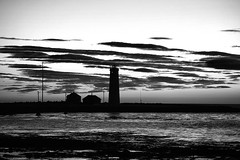 Grótta at Sunset (In Black and White) (wyojones) Tags: iceland lighthouse beach grótta seltjarnarnestown reykjavik spit seltjarnarnespeninsula northatlantic faxaflóibay björk stonemilker musicvideo wyojones