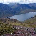 Ascending Stob Cadha Gobhlach, with Loch na Sealga down below thumbnail