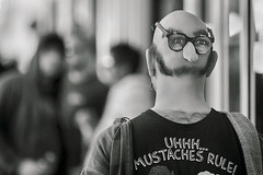 Mustaches Rule (Ian Sane) Tags: ian sane images mustachesrule man bald hair face noseglasses black white candid street photography downtown portland oregon canon eos 5ds r camera ef70200mm f28l is usm lens