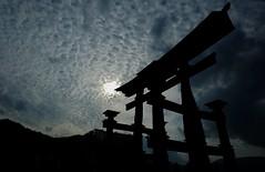 """Torii"" of Itsukushima Shrine (S Fujii) Tags: shrine torii gateway itsukushima jinja clouds shinto hiroshima japan gray monochrome fuji xpro1 history traditional miyajima shadow geotagged"