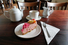 Day #3507 (cazphoto.co.uk) Tags: project365 beyond3288 070817 cups teapot cafe coffeeshop cheesecake plate fork table writtle wilkin teashop 2017th23 tea napkin pink