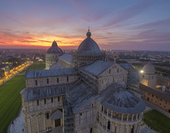 let the sky burn (Wizard CG) Tags: pisa tuscany italy leaning tower cathedral piazza dei miracoli outdoor baptistrybell sun set epl7 roof architecture olympus ngc sky sunset worldtrekker italia