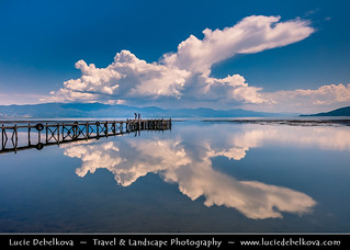 Macedonia (FYROM) - Galičica National Park - Great Prespa Lake - UNESCO Biosphere - Lake Pier with wonderfully reflecting clouds