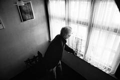 View from a window (Matthieu Verhoeven - Photographer -) Tags: matthieuverhoevennl nikon d3s portrait portret man view uitzicht zwartwit blackwhite monochrome sfeer documentary documentair documentairy black white foto zwart wit