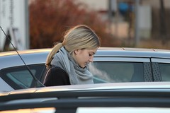 Perfect Clouds (if you insist) Tags: nicotine smoking smoker candid cigarette exhale eurosmoke enjoy female addict blonde