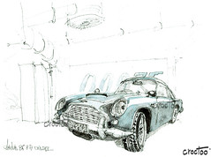 Aston Martin DB 5 , Londres, expo Bond in motion, musée du film (Croctoo) Tags: croctoo croctoofr croquis aquarelle watercolor auto