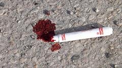 crayola crime scene (Justin van Damme) Tags: crayola marker crime scene red blood ink pavement concrete ground broken