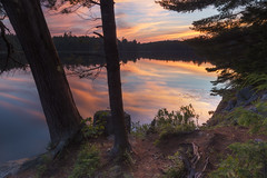 Those Algonquin Reflections (andrewpmorse) Tags: algonquin algonquinprovincialpark provincialpark parks reflection sunset camping trees shore shoreline landscape canon 24105f4l ontario ontarioparks canada lake norralake clouds sky evening