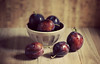 Delicious Plums (Through Serena's Lens) Tags: plums fruits fresh deeppurple color dof bokeh naturallight stilllife tabletop waterdroplets canoneos6dmarkii indoor summer delicious sweet shadow bowl closeup 7dwf