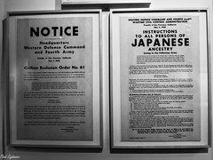 E.O. 9066 (Thad Zajdowicz) Tags: leica poster historic executiveorder9066 worldwarii japaneseamericans printing text words letters writing numbers zajdowicz losangeles california usa availablelight lightroom blackandwhite bw black white monochrome fear racism conflict sign publicdomain creativecommons freeuse
