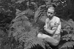 Pieces of yourself that cannot be hidden (Karsten Fatur) Tags: portrait model malemodel bw blackandwhite naked nude nudemodel skin forest woods nature summer england britain uk unitedkingdom adventure explore travel europe canterbury gay lgbt lgbtq queerart queer plants ferns lighting light naturallight existinglight