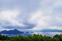 Morning calm (elenaleong) Tags: laketoya hokkaido elenaleong cloudy laketoyanationalparkviewpoint mountains lake landscape calderalake volcano 洞爺湖
