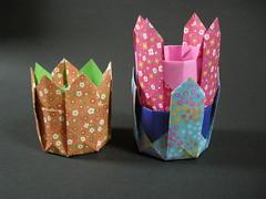 Harvest baskets (Mélisande*) Tags: mélisande origami box octagon