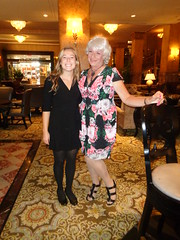 Me And Shelby, My Bartender Du Jour (Laurette Victoria) Tags: hotel lobby milwaukee pfisterhotel woman dress silver laurette