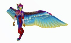 Fantasy Avatar: The Gryphon (Asia Ristow) Tags: secondlife kinzartkreetures kinzart gryphon fantasy avatar rainbow prismatic girl female furry anthro anthropomorphic