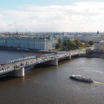 Palace bridge across the Neva river