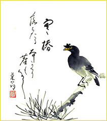 Crested myna (Japanese Flower and Bird Art) Tags: bird crested myna acridotheres cristatellus sturnidae nihonga shikishi japan japanese art readercollection