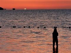 Last light (alansurfin) Tags: florida ocean sunset sun sol sea sky water wading girl orange reflection light sunlight