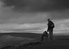 Dog walker on Mam Tor (Mac Canonymous) Tags: mamtor derbyshire peakdistrict nationaltrust longdog sighthound greyhound dogwalker blackandwhite