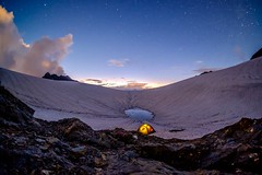 Night In The Mountains (meleshko.alex) Tags: night mountains georgia caucasis rocks longexposure sky stars tents sun sunset fujifilm fuji xt1 fisheye 8mm samyang samyang8mm