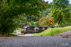 Rural Road Level Crossing (Drifton Dalton) Tags: train trains locomotive locomotives railroad railway rail rails crossing road rural country hollow coal freight ns norfolksouthern norfolk southern pilgrims knob va virginia buchanan county mountain mountains tree trees grass