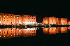 Double dock by srgpicker - Our last night in Liverpool we took the students out for a walk around the Albert Dock and I took advantage of the walk to take some photographs. It was probably the first time I shot film at night and I was afraid the results were not going to be quite good, but it seems this film and this camera are really great.