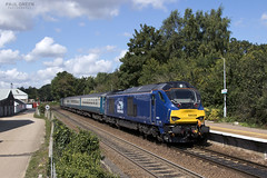 68028 arrives into Brundall working 2J74 1205 Norwich - Lowestoft 31/8/2017 (Paul-Green) Tags: class 68 68028 68005 brundall station aga abellio greater anglia passenger service flickr uk gb railways norfolk canon camera 1205 norwich lowestoft drs direct rail services 2017