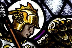Archangel Michael Slaying The Dragon Detail (RDW Glass) Tags: archangel angel michael douglasstrachan stainedglass scotland rdwglass laurel bank belmont church lillybank glasgow