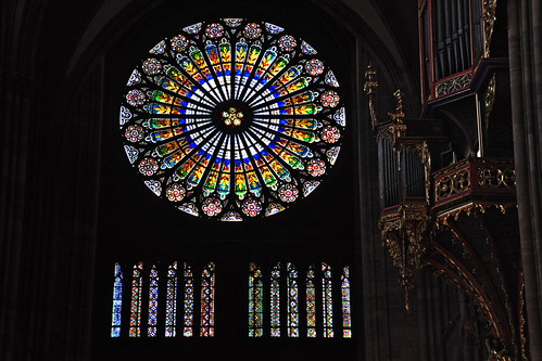 The Rose Window and Silbermann Organ on the Western Facade of the Strasbourg Cathedral, France