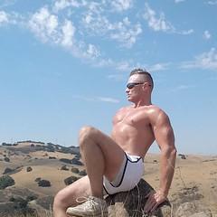 enjoying the view (ddman_70) Tags: shirtless muscle pecs hiking outdoors shortshorts