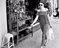 Streets of Cozumel (thomasgorman1) Tags: street streetphotos woman person shopping mexico island resort cruise tourism candid monochrome canon cozumel walking sidewalk