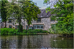 Bakewell old market town in the heart of the Peak District (arw49) Tags: bakewell hdr peakdistrict darbyshire outdoors water building ducks canon trees wye green peak district