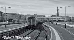 20170813-IMG_3335-Edit (deltic21) Tags: blackpool station semaphore signals signal signalbox seaside northwest lancashire canon tower unit northern dmu bygone renovation rail railway railways british br monochrome bw blackwhite
