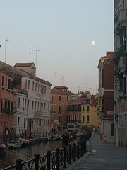 Waxing moon over Venice (ashabot) Tags: venice veniceitaly europe worldcities seetheworld twilight moon lovely transition city internationalcities canal gibbonsmoon soft softlight renaissance quiet street streetscene walk walkabout dusk