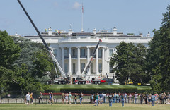 Reconstruction required (Tim Brown's Pictures) Tags: washingtondc whitehouse constructioncranes workmen rooftop repair