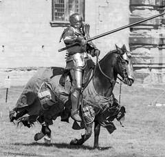 KNIGHTS JOUSTING, BOLSOVER CASTLE, DERBYSHIRE_DSC_5965_LR_2.0 (Roger Perriss) Tags: bolsovercastle horses joust medieval d750 lance armour gallop blackandwhite castle