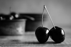Black Cherries {Lensbaby Velvet 56} (DefinitelyDreaming) Tags: lensbaby velvet56 blackwhite foodphotography cherries fruit healthy