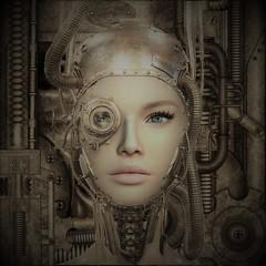 Junk Parts (tralala.loordes) Tags: secondlife virtualreality avatar genesislab maitreya tralalaloordes scifi ai robotics portrait human metal enhanced cyborg junk parts coffeetime