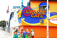 The Cyclonic State of America (kirstiecat) Tags: nyc newyorkcity newyork coneyisland brooklyn people strangers cycloniccafe friends saturation america mermaid costumes fun