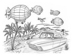 Chacharo (rod1691) Tags: bw scifi grey concept custom car retro space hotrod drawing pencil h2 hb original story fantasy funny tale automotive art illistration greyscale moonpies sketch